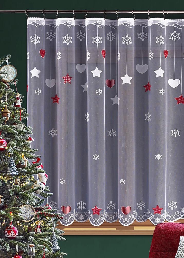 Vánoční záclona se srdíčky, vločkami a hvězdičkami s barevným potiskem.