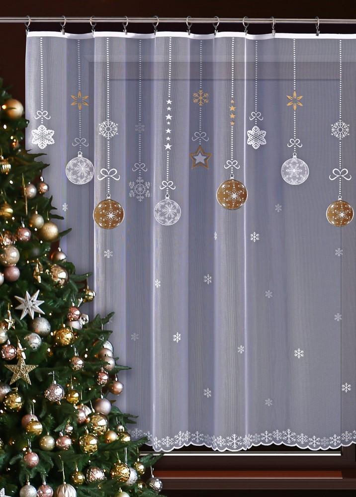 Zlatá vánoční metrážová záclona JIMI Textil M70
