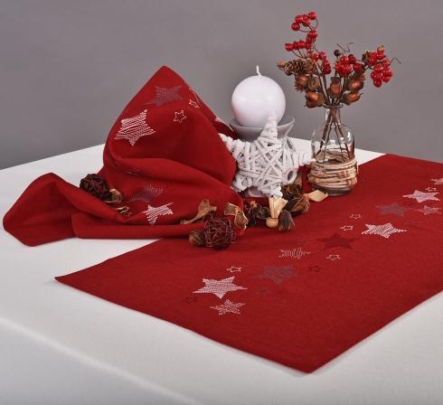 Vánoční dečky a prostírání - červené s hvězdičkami