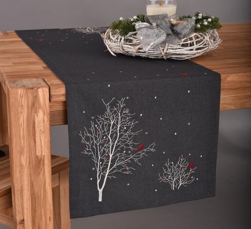 Vánoční dečky a prostírání - Tmavě šedé se stromy
