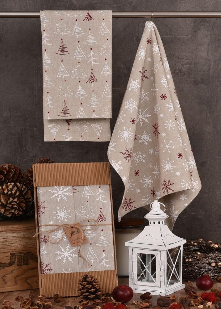 Vánoční utěrky na nádobí (stromečky, vločky) - sada 2 ks